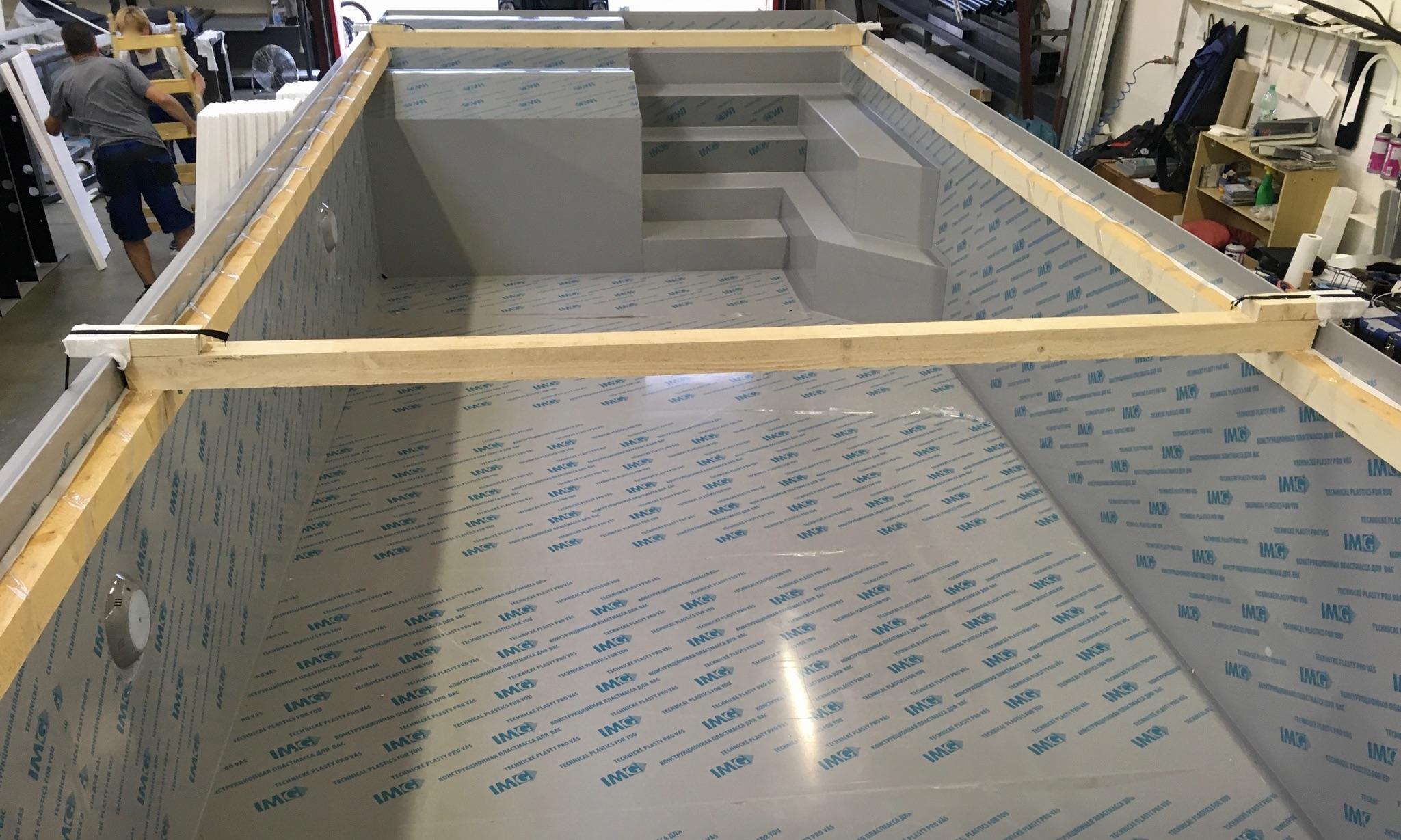 Polypropylen Skimmer Pool von BrainPool mit Liege in Grau